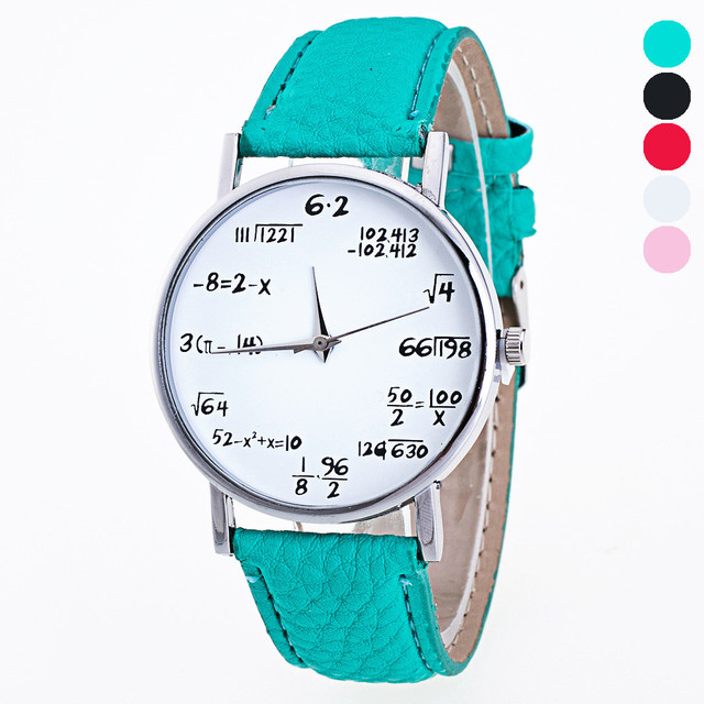 Math Letter Pattern Girls Leather Band Analog Quartz Vogue Watches Fashionable R