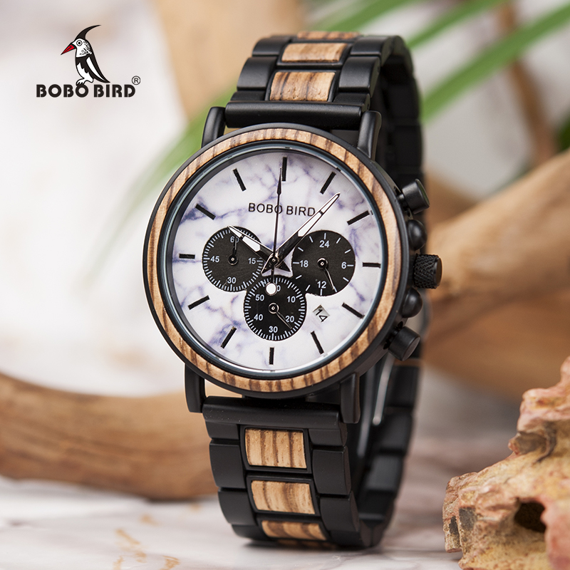 Marble Wooden Watch Men Stopwatch Wristwatch Male saat erkek BOBO BIRD show Date Create Clock Gift In Wood Box saat erkek newborn baby girl clothes set 3pcs kid party my first christmas cotton bodysuit sequin bowknot tulle tutu skirt headband outfit page 3