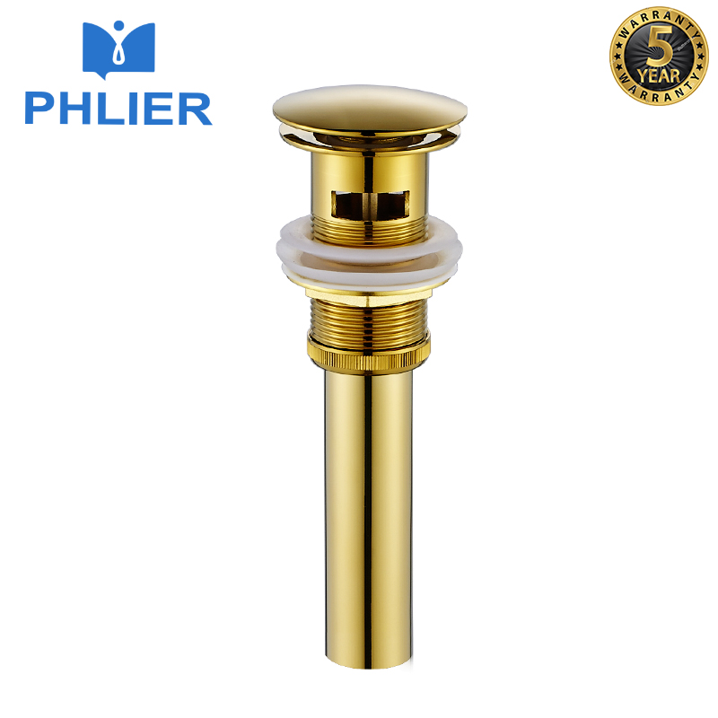PHLIER Brass Bathroom Basin Waste Pop Up Waste Vanity Vessel Sink Drain Without/With Overflow Basin Plug Gold Bathroom Products