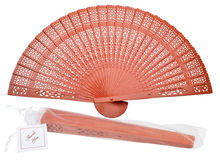 8 Orange Chinese Folding Wood Panel Hand Fan w/ White Organza Bag for Weddings