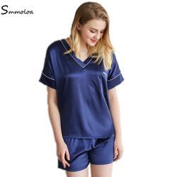 Smmoloa Летняя женская шелковая окрашенная Пижама сдельная Пижама шорты наборы
