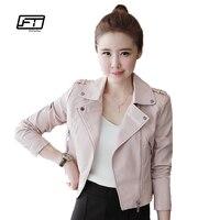 2016 New Autumn Winter Women Leather Jackets Soft Pu Pink Leather Coats Short Design Slim Cute
