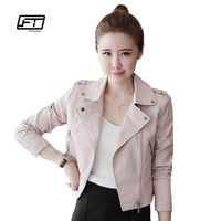 2016 New Autumn Winter Women Leather Jackets Soft Pu Pink Leather Coats Short Design Slim Cute