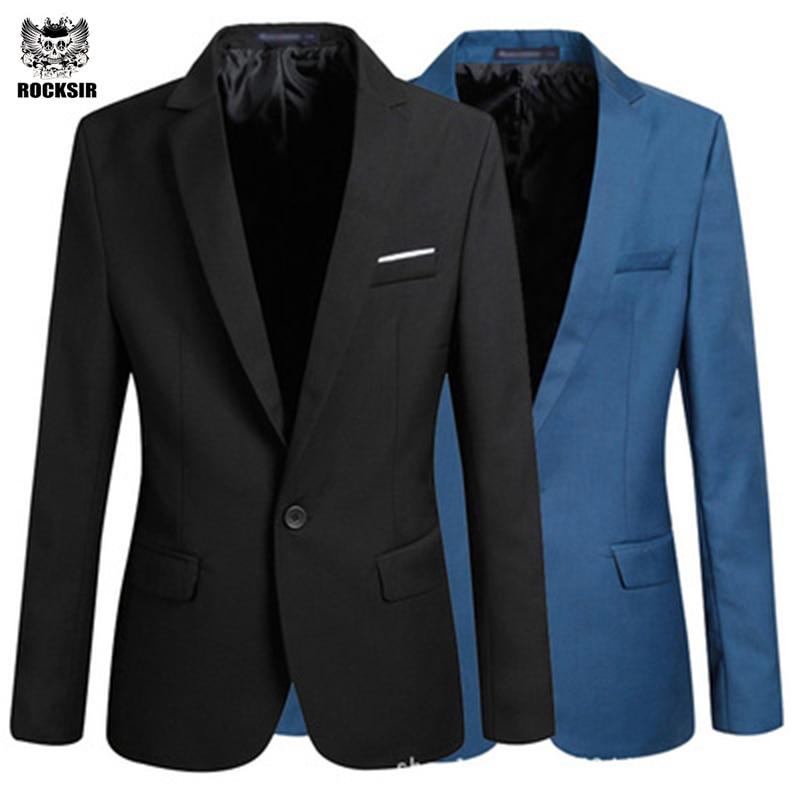 Rocksir casual Blazer men Slim Fit Coat Suit Formal jacket for men solid color wedding cotton men Classic Men suit Jackets