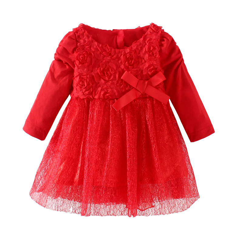 Mudkingdom Baby Girl Flower Lace Dress Red Long Sleeve Party first birthday outfits With Bow Baby Girl Clothes