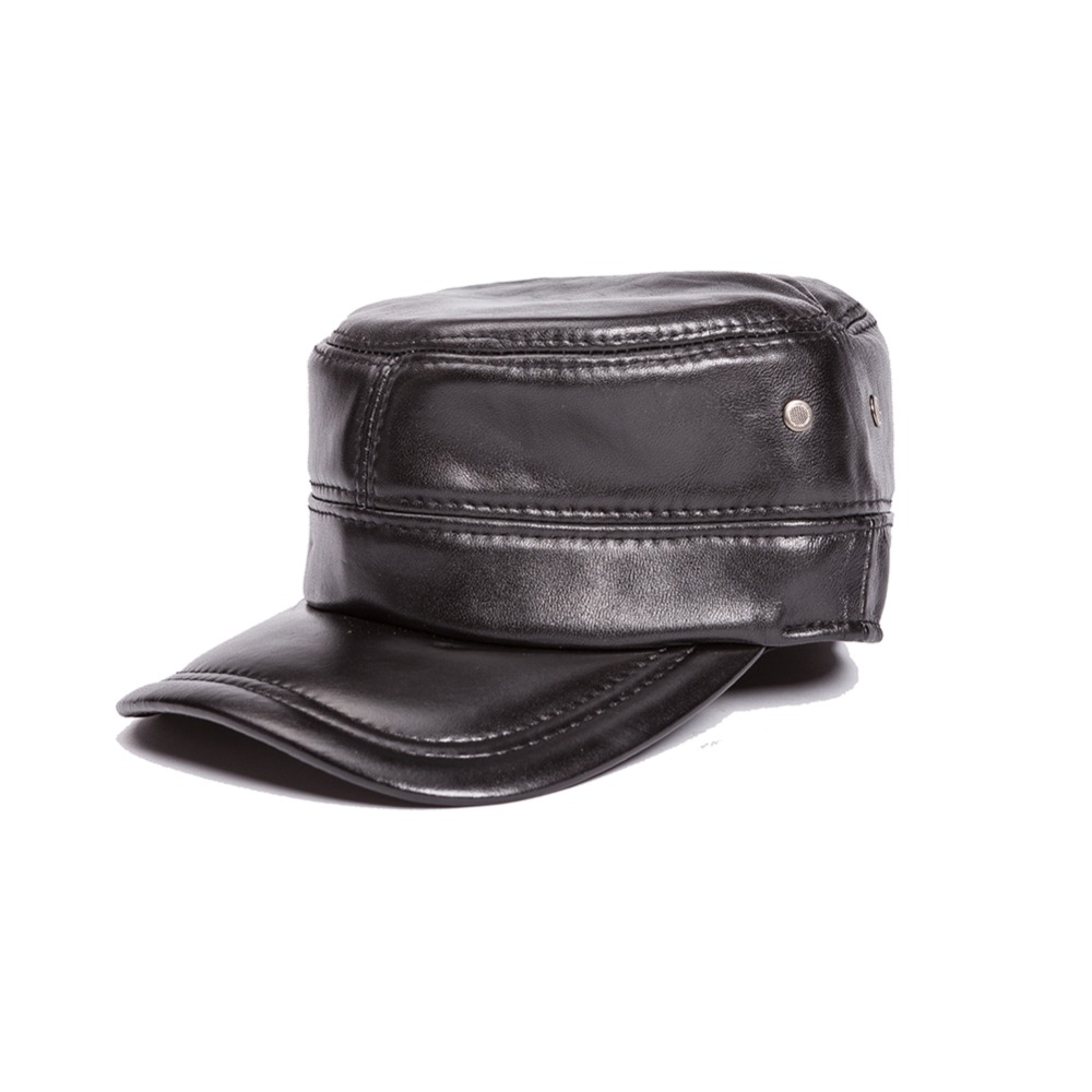 ФОТО COWHIDE newsboy men hat winter autumn warm Hats male adjustable cap genuine leather real leather
