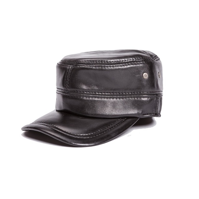 COWHIDE newsboy men hat winter autumn warm Hats male adjustable cap genuine  leather real leather f1d91f935283