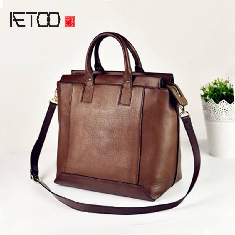 AETOO Ladies leather handbag big bag simple wild fashion handbags large shoulder bag commuter handbags aetoo boston first layer of leather ladies handbag bag fashion simple simple large capacity handbags shoulder messenger bag