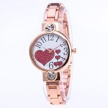 46d4472672 Stainless Steel Strap Rose Gold Women Watch Casual Love Heart Pattern  Quartz Wrist Watch Women Dress