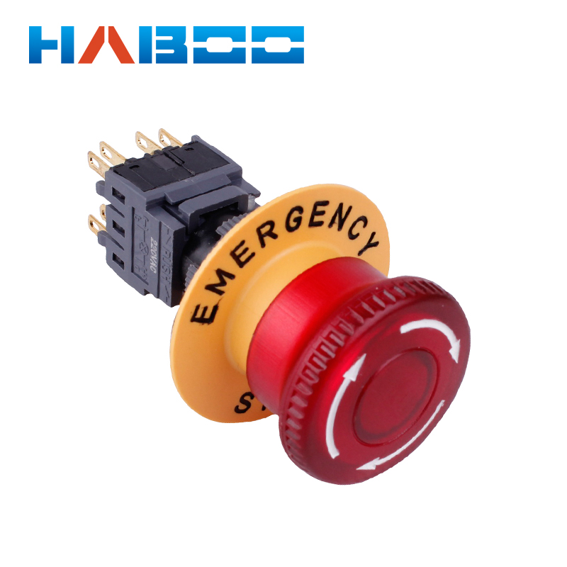 dia 16mm illuminated emergency stop switch 2NO 2NC mushroom head with led lighing IP63 e stop
