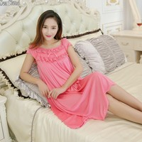 Free shipping Summer sexy women nightgown M 2XL 7 colors female lace silk casual sexy sleepwear Pregnant woman