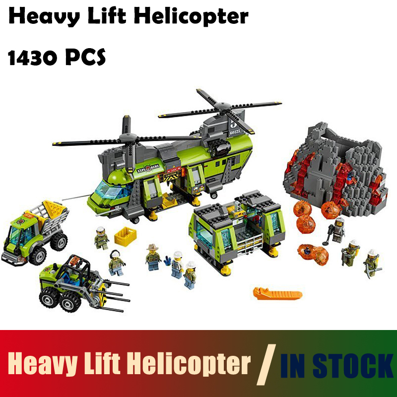 Compatible with lego City Model Building Blocks toys 02087 1430Pcs Heavy Lift Helicopter 60125 Educational DIY toys hobbies loz mini diamond block world famous architecture financial center swfc shangha china city nanoblock model brick educational toys