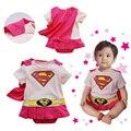 Estilo verão fresco do bebê recém-nascido macacão infantil rosa superman macacões roupas roupas das crianças para os bebés
