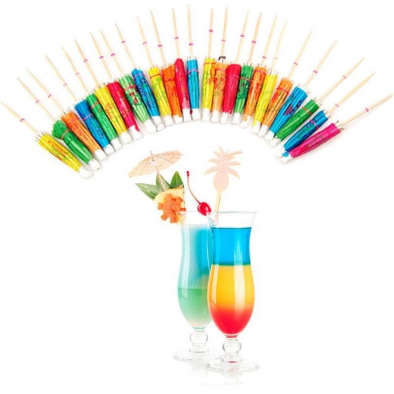 10pcs/lot 10cm Mini Paper Umbrellas Toothpick Cocktail DIY Birthday Cake Drinks Decoration Bachelorette Party Wedding Supplies-S