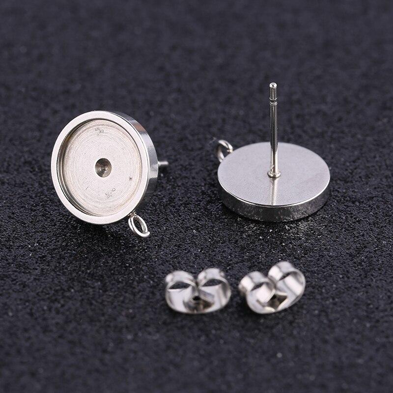 Onwear 10pcs Fit 10mm Cabochon Earring Base Connectors Stainless Steel Blank Stud Earrings Bezel Settings Diy Post Findings