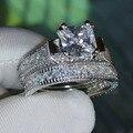 Venda quente do Tamanho 5/6/7/8/9/10 Luxo venda Quente 14kt ouro branco filled Topaz Mulheres Anel de presente de Casamento Do Diamante Simulado