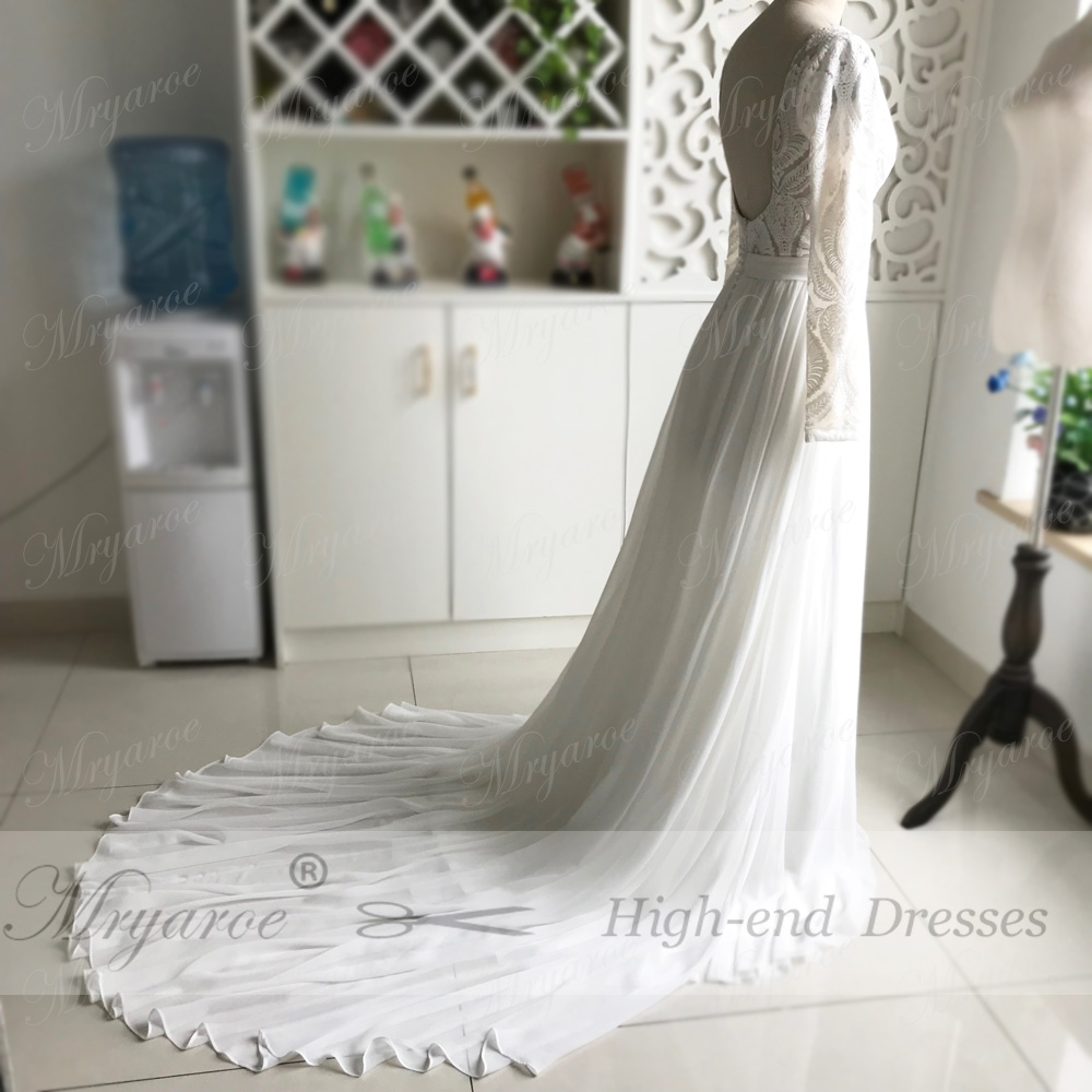 Mryarce Unique Lace Long Sleeves Open Back Hippie StylevWedding Dress Chiffon A line Long Boho Chic Rustic Bridal Gowns (3)
