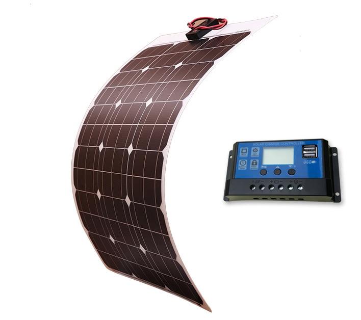 Livraison gratuite batterie solaire Flexible panneau solaire 50 w 12 v 24 v contrôleur + 10a Kits de système solaire pour pêche bateau cabine Camping