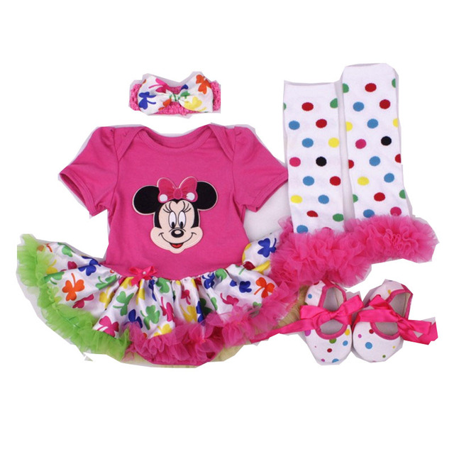 4ba73428857 Baby Girl Clothes Kid Halloween Dress Mickey Minnie Mouse 4PCS Set Infant  Outfits Tutu Dress Bebe Costumes Baby Birthday Clothes