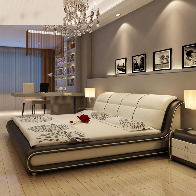 Hot Sale American Style Modern Real Genuine Leather Bed Home Furniture Soft Bed Double Bed King Queen Size Bedroom