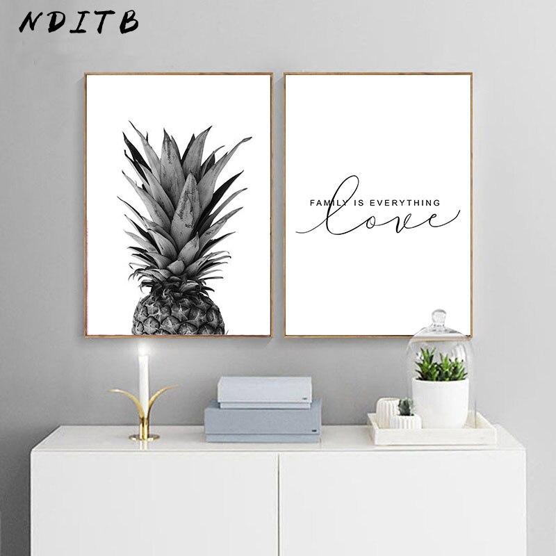 Pineapple Black White Canvas Poster Scandinavian Wall Art Poster Print Minimalist Nordic Decoration Picture Living Room Decor