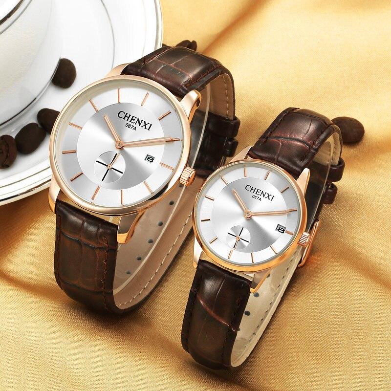 Mens Women Thin Case Watches Top Brand Luxury Quartz Watch CHENXI Fashion Casual Business Watch Wristwatch Relogio Masculino