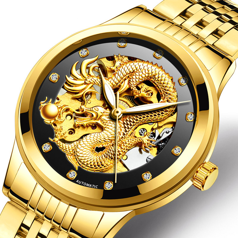 Fngeen Gold Dragon Automatic Mechanical Watch Casual Mens Watches Stainless Steel Luxury Business Fashion Watch Relogio Masculin fngeen gold automatic mechanical watch fashion mens watches top brand luxury business watch otomatik saat cube man clock 25