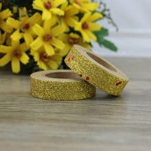 1 roll Adhesive Golden Glitter Washi Tape with red shine dots Scrapbooking Christmas Cute Decorative Paper Crafts Hot Sale new arrival adhesive silver golden glitter washi tape scrapbooking christmas party kawaii cute decorative paper crafts hot sale
