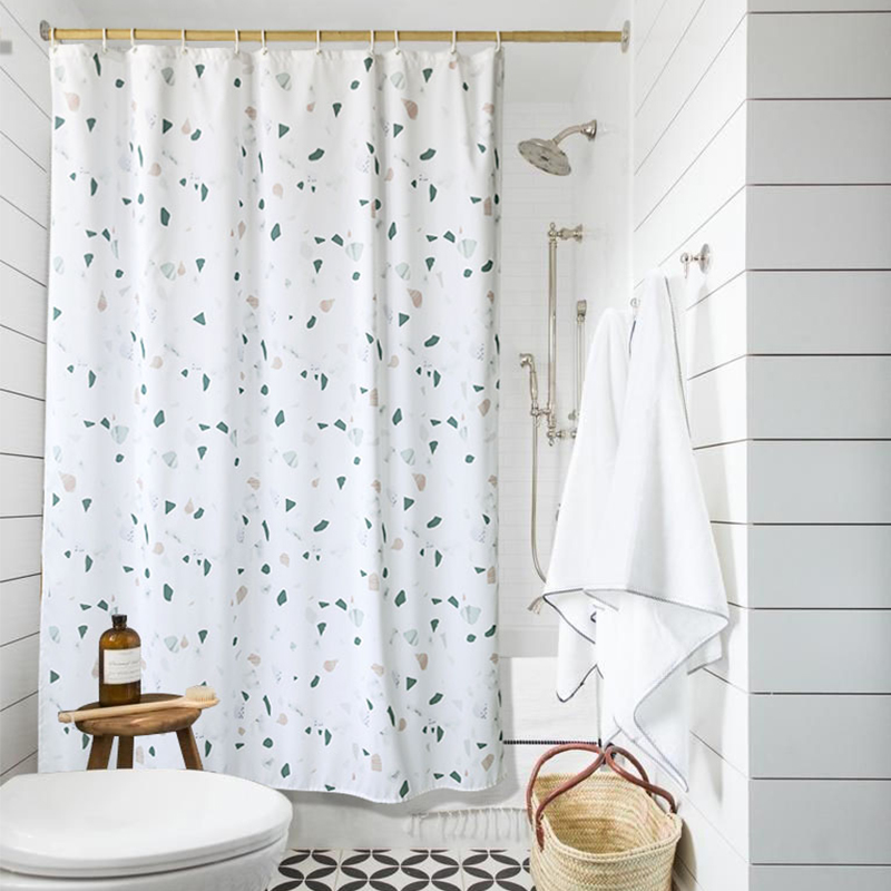 NEW LIANGQI Thicken terrazzo print Shower Curtain Bathroom partition Waterproof High quality Hanging curtain Home Decoration in Shower Curtains from Home Garden