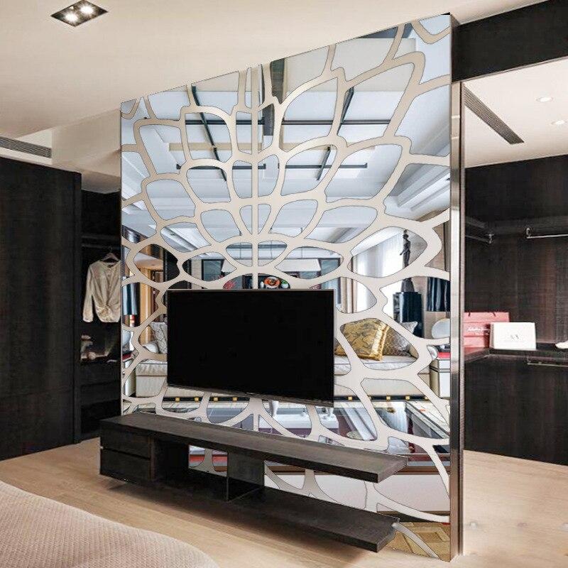 Bricolage diverses couleurs mode créative printemps nature cercle fleur 3D TV mur adhésif miroir mural sticker R017 - 2