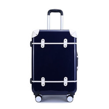 2018 High Quality Fashionable Bright retro Travel on Road 24 Inch Plane Letter Spinner Suitcase Bag