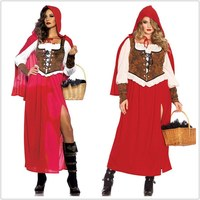 New Little Red Riding Hood Costume for Women Fancy Adult Halloween Cosplay Fantasia Plus Size S XXL Dress+Cloak Party Fairy