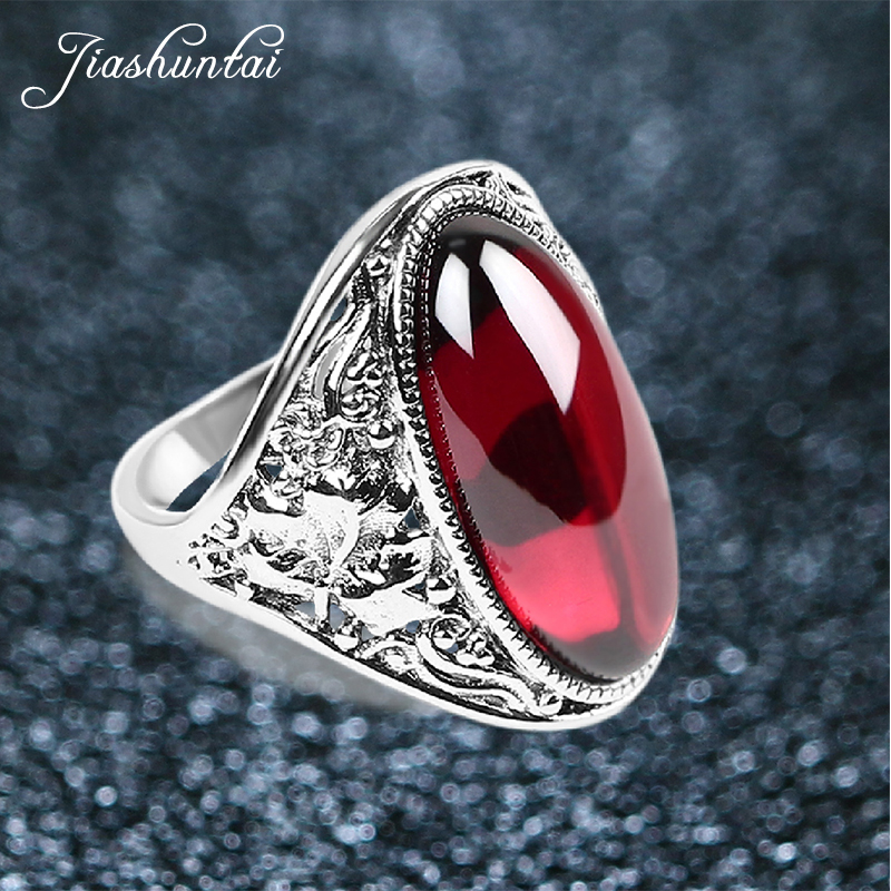 JIASHUNTAI Vintage Silver Rings For Women Retro Flower Pattern Wedding Finger Rings 925 Sterling Silver Jewelry Female handmade stripe pattern exaggerated flower leaves rings wide real pure 999 sterling silver rings for women lady vintage jewelry