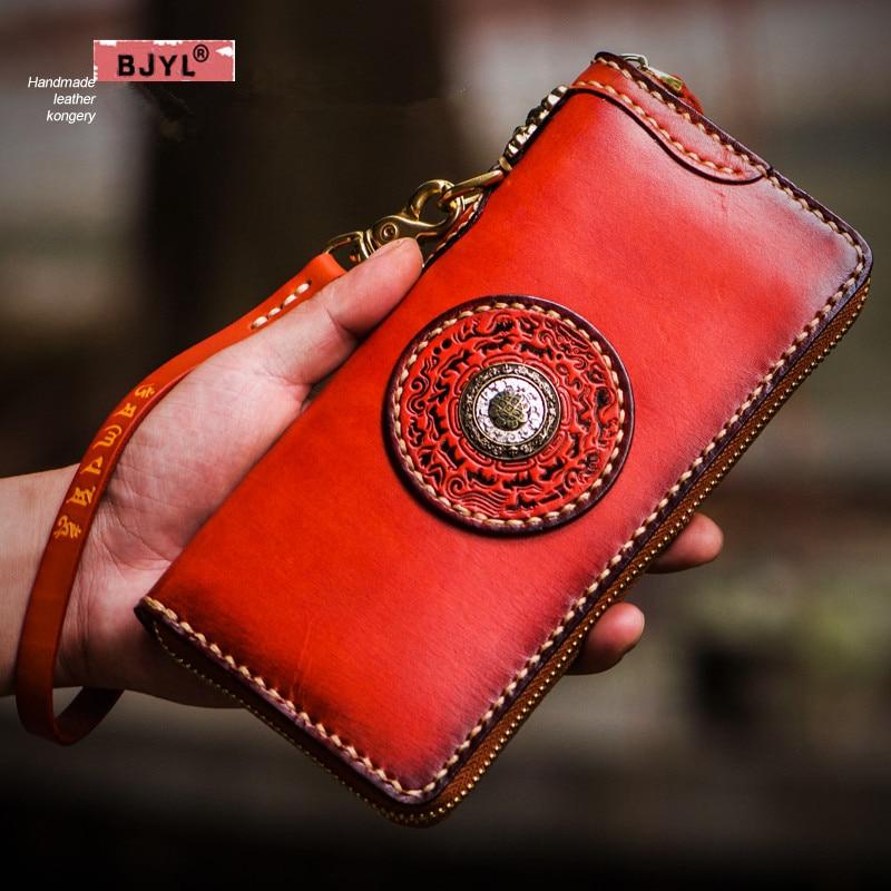 BJYL à la main hommes portefeuilles long en cuir véritable fermeture à glissière portefeuille porte-cartes sac à main de bétail grande capacité femmes sacs à main homme portefeuille