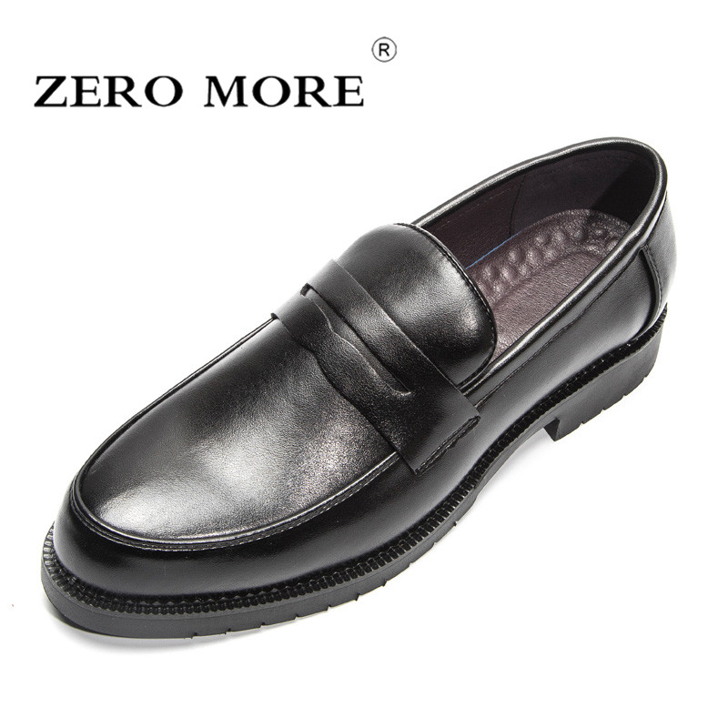 ZERO MORE Mens Casual Shoes Hot Sale Fashion Solid Black Shoes Men 2019 Slip On Penny Loafers Male Shoes Casual British Patent