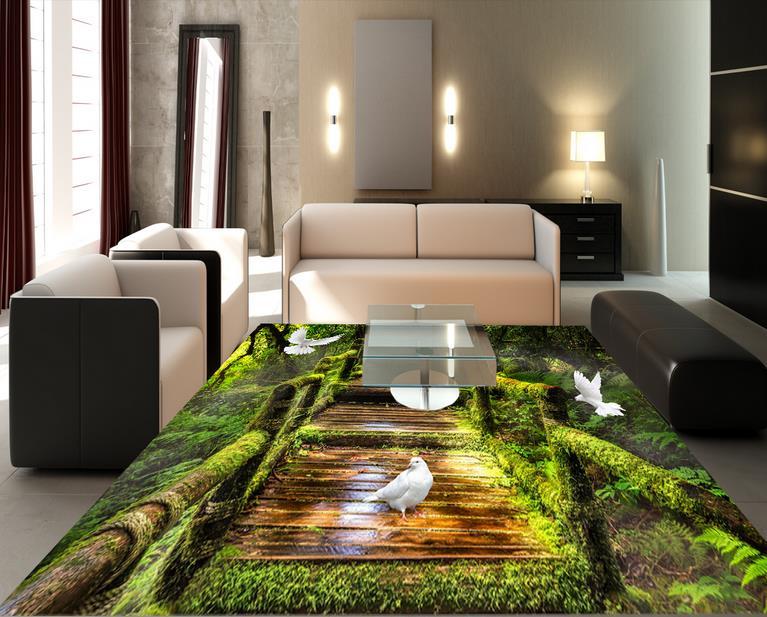 Custom 3d floor schilderij kamer behang bos moss 3d vloeren