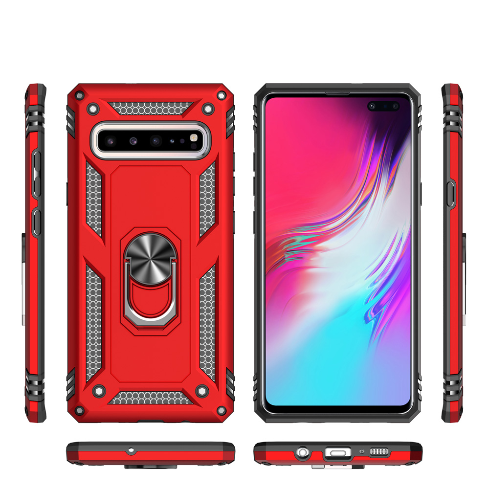 For Samsung Galaxy S10 5G Dual Layer Military Armor Case Magnetic Ring Stand Slim Shockproof Hard Cover