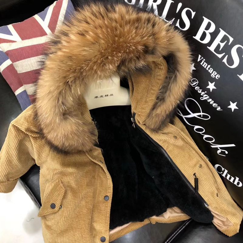Kids Winter Jacket Children's Natural Rabbit Fur Baby Outerwear Long Parkas Raccoon Fur Hooded Coat Girls Warm Jacket TZ214