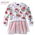 Vestuário crianças vestido da menina vestido de manga longa impresso linda menina para meninas crianças crianças vestido de princesa tutu vestido de festa