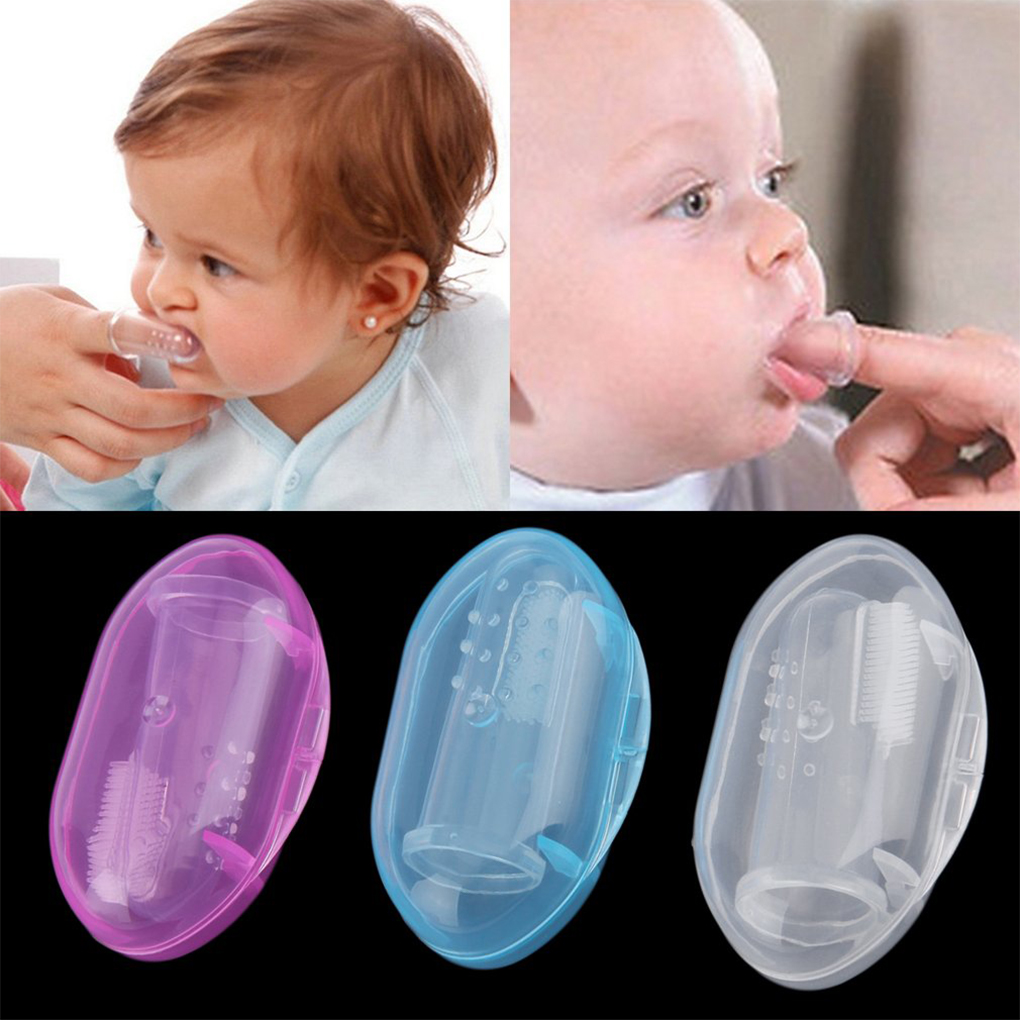 Baby Infant Soft Silicone Finger Toothbrush Teeth Rubber Massager With Box