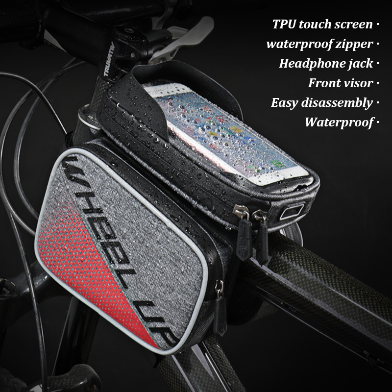 WHEEL UP Top Tube MTB Cycling Riding Frame Front Head Bags Cell Phone bicycle bag 6 0 Inch Waterproof Touch Screen Bike Bag in Bicycle Bags Panniers from Sports Entertainment