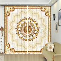 Customize any size Luxury blackout curtains for bedroom living room windows Round Carved Mandala Home Decor 3D Curtains Drape