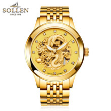 SOLLEN Stainless Steel Luminous Automatic Mechanical font b Watches b font Men Brand Luxury Hollow Skeleton