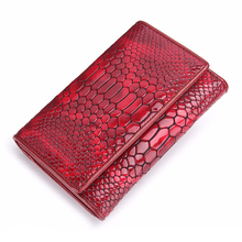Red Crocodile Skin Pattern Brand Design Genuine Leather Women Standard Wallets Lady Fashion Trifold Purses Card Holder Coin Bag