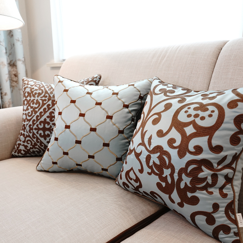 Европейский вышитые подушки роскошные декоративные диванные подушки без внутреннего диван домашний декор принципиально cojines decorativos Z5