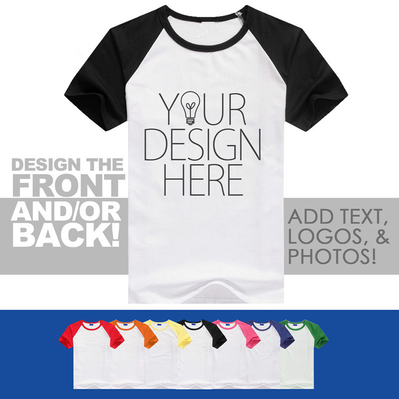 Custom Your Design Photo Text Logo Raglan Personalized Mens Printed Men T-Shirt ...