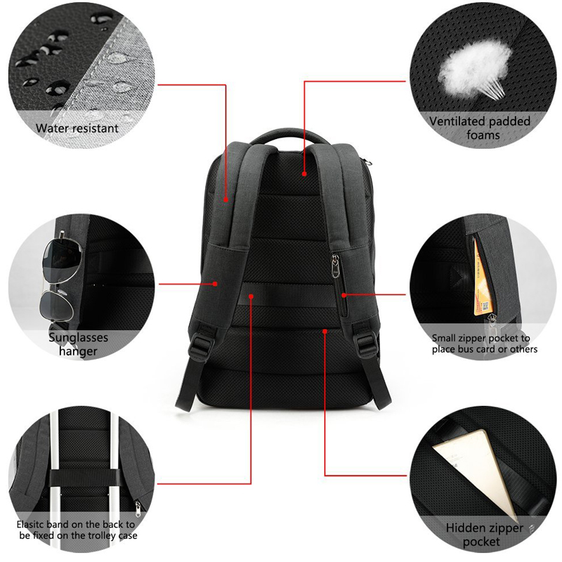 2018 Tigernu Men s Fashion Travel Backpacks Anti theft USB Charging 15.6 Laptop  Bag Waterproof Silm School Bag for Female Male -in Backpacks from Luggage  ... 8510832b51327