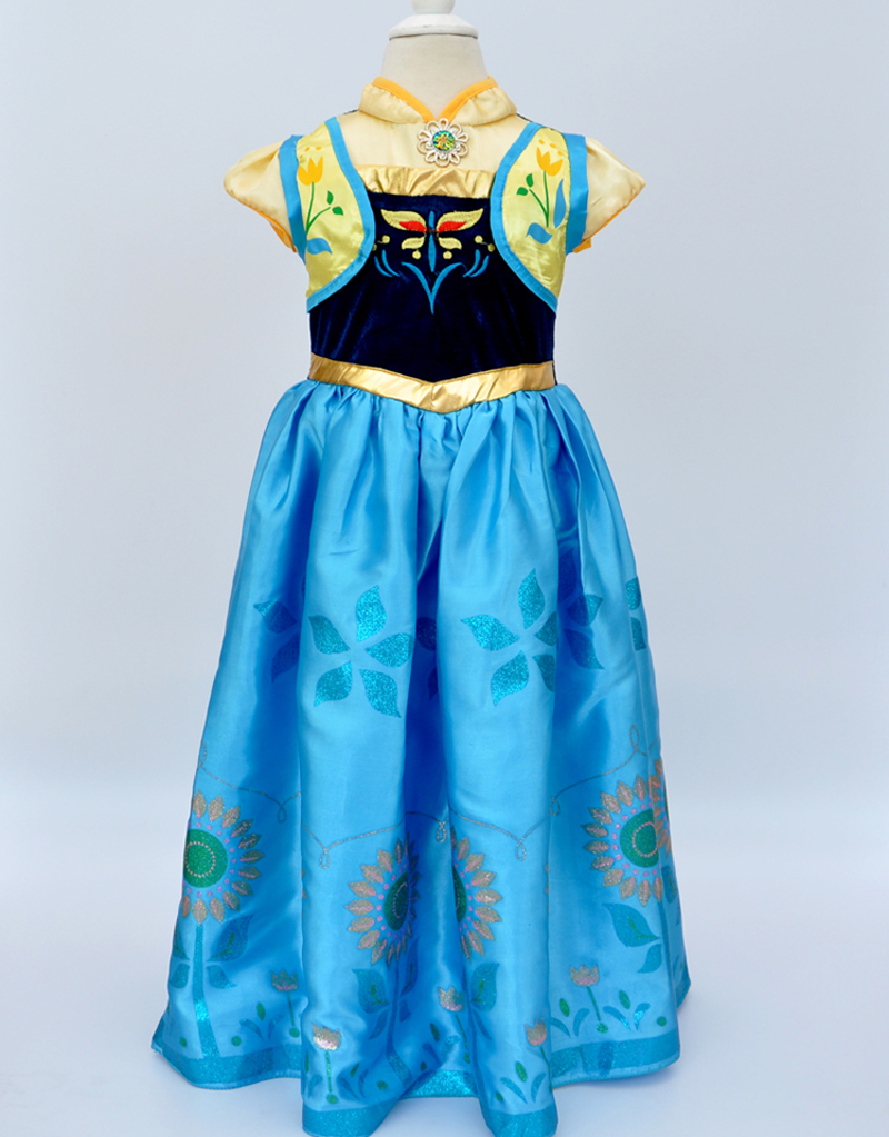 High Quality girls party dresses Princess Anna Elsa Cosplay Wedding dress baby kids clothing  Princesa Party Girl  Robe Vestidos high quality fashion kids girls dresses elsa frosset dress costume princess anna party dresses for wedding vestidos kid 2 8 year