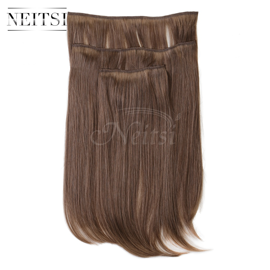 Купить с кэшбэком Neitsi 14'' 3Pcs/Set 75g Clip in on Synthetic Hair Extensions Straight Hairpieces Light Blonde 550#
