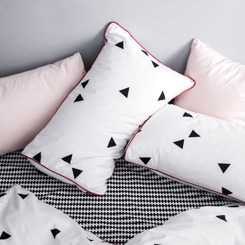 INS Nordic einfache baumwolle schwarz und weiß käse plaid bettwäsche set twin königin könig größe bettwäsche voller größe bett set - 3
